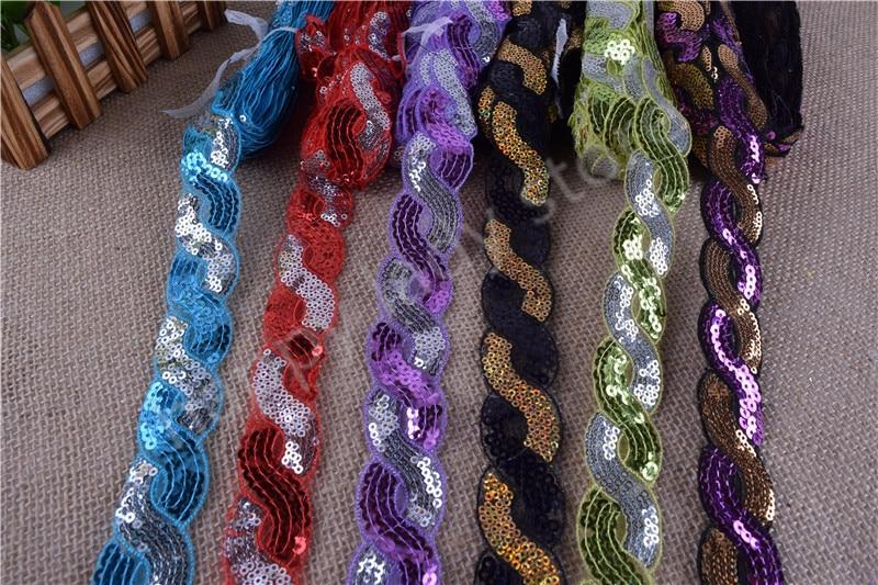 60yards Sequin Fabric Venise Decorated Braided Edge Metallic Bridal wedding Trim Wide 3cm