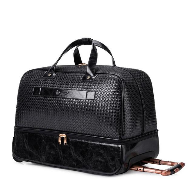 Men PU Leather Trolley Bag Women Black 2 Wheels Travel Duffle Bag Medium  and Large Size 76452c8480