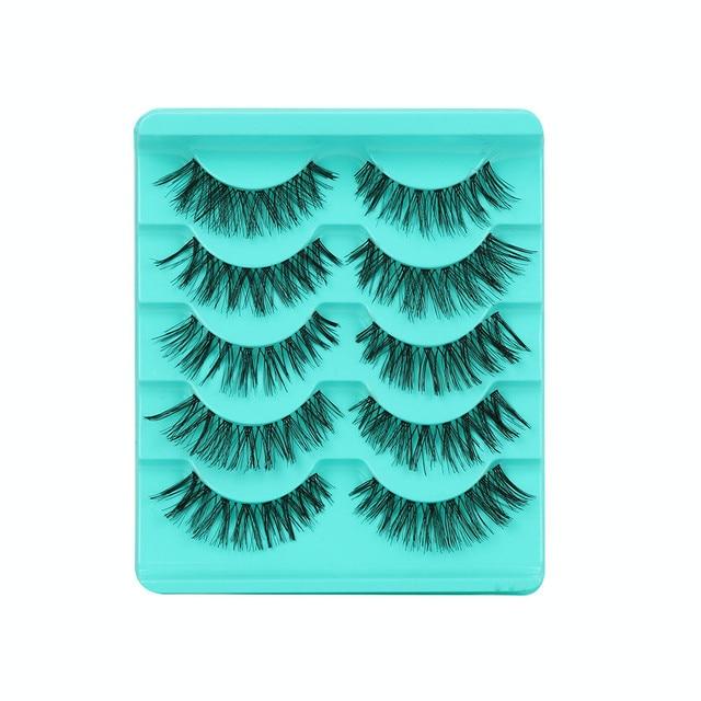 2019 moda de mujer 5 pares de lote hecho a mano pestañas postizas cruzadas pestañas voluminosas pestañas de ojos calientes #4