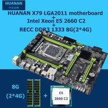 HUANAN X79 motherboard CPU RAM combos X79 LGA2011 V2.49 motherboard Xeon E5 2660 C2 memory (2*4G)8G DDR3 REG ECC 2 years warrant