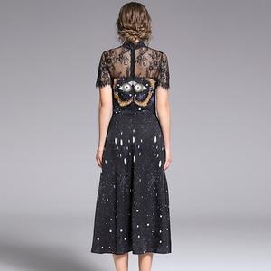 Image 5 - Banulin 2019 אופנה מסלול קיץ שמלת נשים של קצר שרוול אלגנטי מלאך הדפסת תחרה טלאי פיצול בציר Midi שמלה