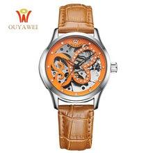 цена на OUYAWEI Women Watches Creative design butterfly pattern dial Clock Female Leather Automatic Mechanical Watch Relogio Feminino