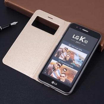 Funda de cuero Flip vista inteligente caso para LG K10 2017 K 10 K102017 LV5 LV 5 M250 M250N X400 5,3 carcasa de teléfono de pulgadas a prueba de golpes