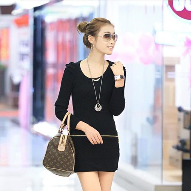 2014 moda de nueva invierno collar de taladro del clavo suéter manga larga vestido promoción del o-cuello de la rebeca mujeres caliente venta oferta especial