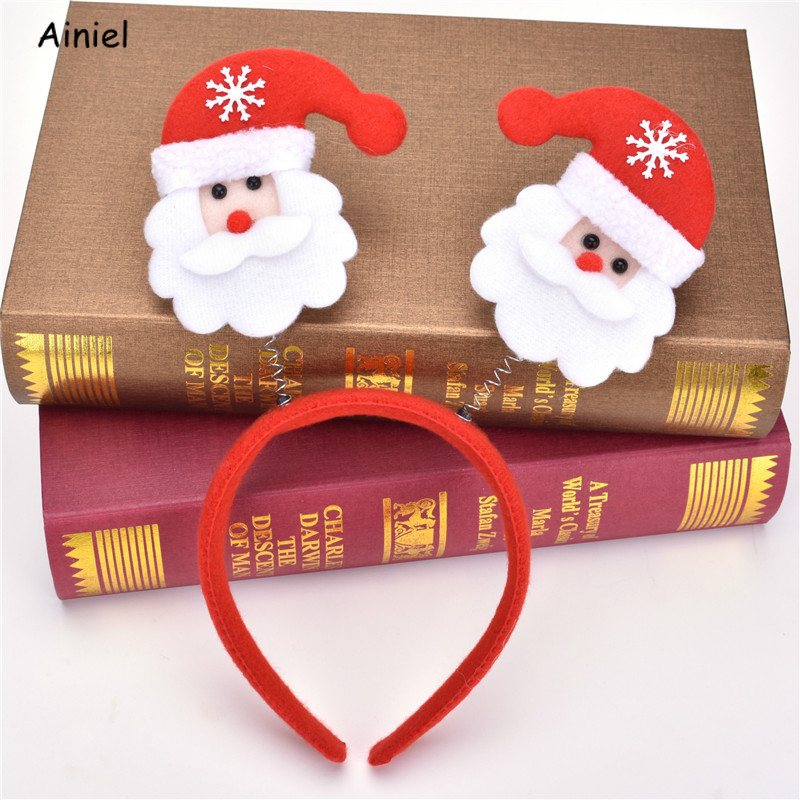 Christmas Headwear Hairbands For Children Headwear Santa Claus Snowman Antlers Red Headbands Kids Fashion Hair belt Accessories