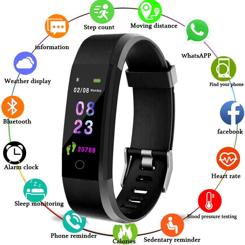Color Screen Smart Bracelet Sports Pedometer Watch Fitness Running Walking Tracker Heart Rate Pedometer Smart Band(China)