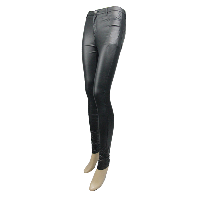 Diable mode PU cuir femmes été pantalon Steampunk solide noir élastique taille extensible Long Leggings vente chaude - 5