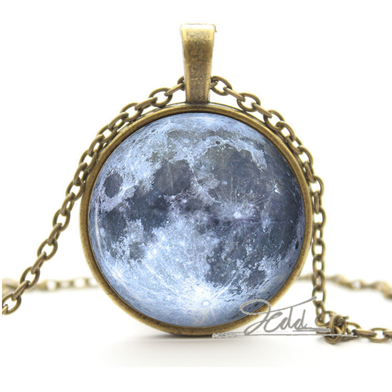 silver moon necklace glass photo pendant blue outer