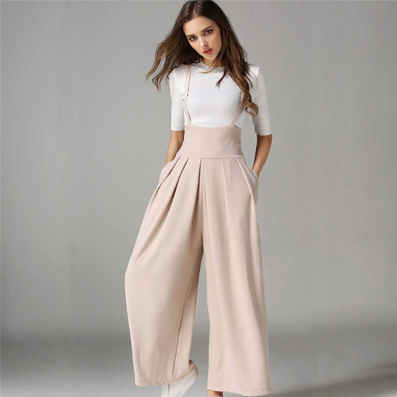 64db27a76a Fashion British Invisible zipper Palace Jumpsuits Women Casual Pleated High  Waisted Wide Leg Palazzo Pants Suspenders