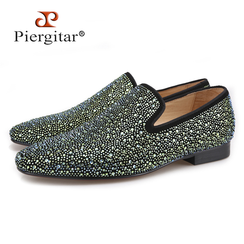 Piergitar Shoes Rhinestone Flats Men's Loafers Luxurious Brand with Mixed-Colors Shining