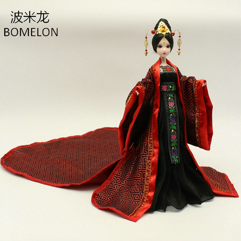 2017 New Handmade Doll Clothing Chinese Ancient Costume Evening Dress for OB27 Bjd 1/6 Doll Body Girl Toys Dolls Accessories handmade ancient chinese dolls 1 6 bjd jointed doll empress zhao feiyan dolls girl toys birthday gifts