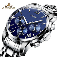 AESOP Mes's Automatic Mechanical Watch 2019 Watches Men Full Steel Business Waterproof Clock Men Relogio Masculino Saat