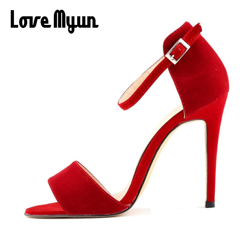 Fashion sexy Black RED NUde suede High Heels Shoes party Wedding Women pumps High-Heeled Sandals OpenToe big size 35-42 GG-27 2017 new high heeled shoes woman pumps wedding shoes platform fashion women shoes red high heels 11cm suede free shipping 186