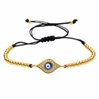 Anil Arjandas Hamsa Bracelets For Women Rose Gold Micro Pave CZ Spacer Red Stoppers Braid Macrame
