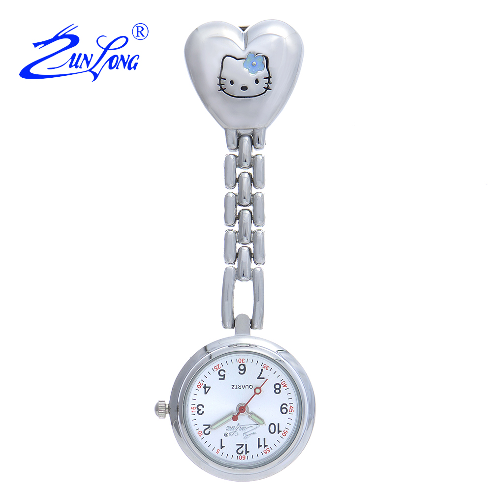 ZUNLONG Hello Kitty Nurse Watch Women Doctor Pendant Pocket Watches Quartz Brooch Fob Hanging Medical Montre Relogio Feminino new fashion clip nurse doctor luminous pendant pocket watches quartz red cross brooch nurses watch fob hanging medical watch