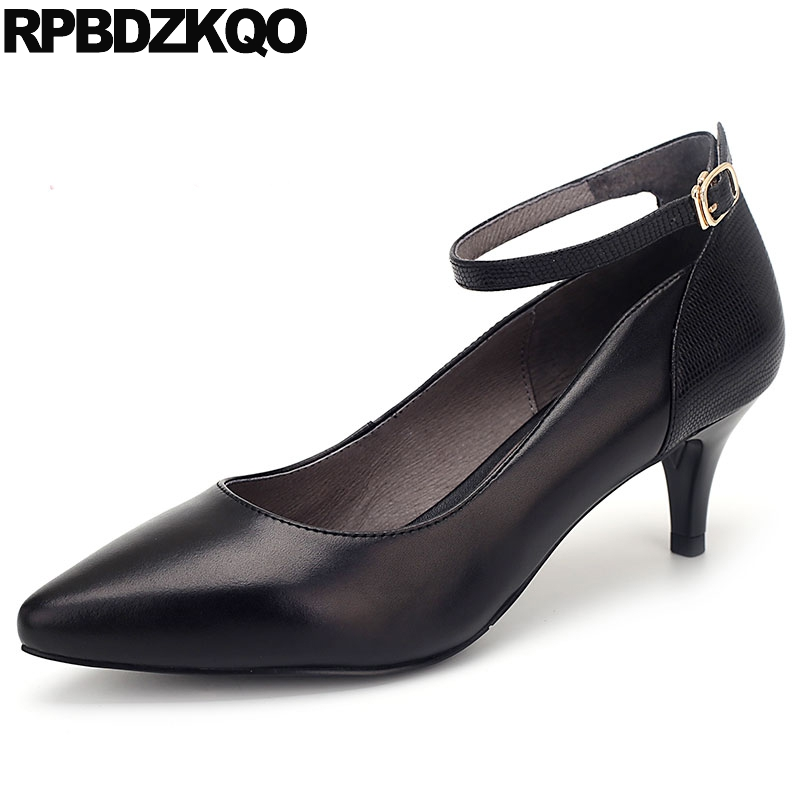 Pointed Toe Black Genuine Leather Fashion Size 33 3 Inch Elegant Shoes Women Ladies High Heels Footwear Thin 4 34 Medium Ankle new 2017 spring summer women shoes pointed toe high quality brand fashion womens flats ladies plus size 41 sweet flock t179