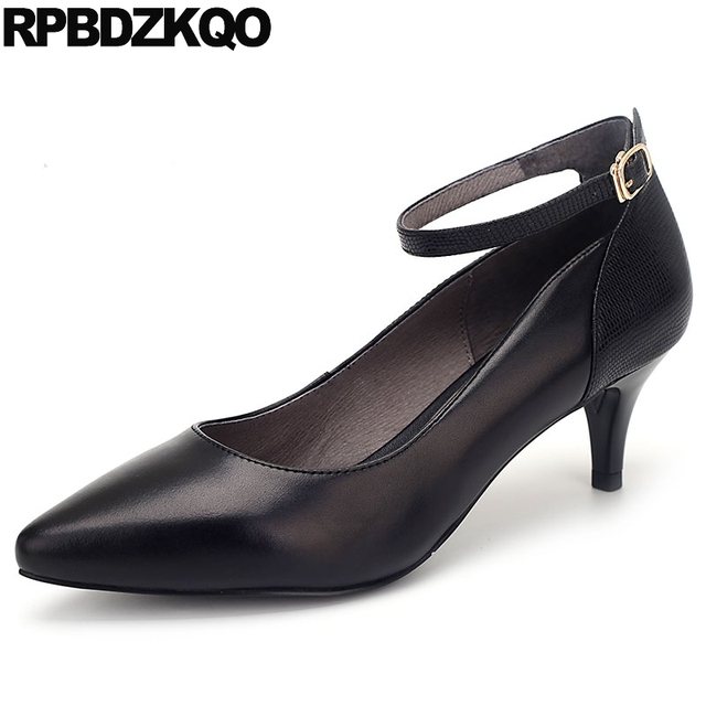 2d57c9e9a6b US $58.32 36% OFF|Pointed Toe Black Genuine Leather Fashion Size 33 3 Inch  Elegant Shoes Women Ladies High Heels Footwear Thin 4 34 Medium Ankle-in ...