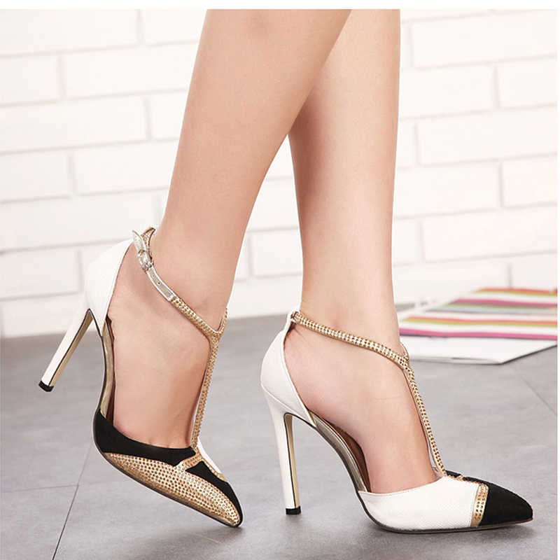 f8fd88897 ... CPI Spring New Rhinestone High Heels Women Pumps Sexy Pointed Stiletto  Heels Brand Mix color patchwork ...