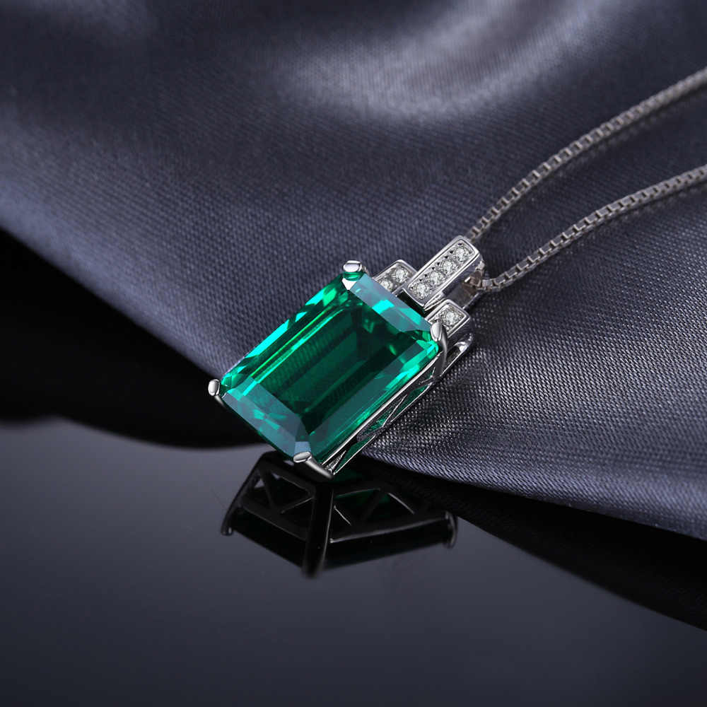 Jpalace 6ct Gesimuleerde Nano Emerald Hanger Ketting 925 Sterling Zilveren Edelstenen Choker Statement Ketting Vrouwen Zonder Ke
