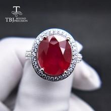 TBJ, elegante anillo de compromiso con rubí natural en plata de ley 925 joyería de piedras preciosas para mujer como regalo de San Valentín de boda