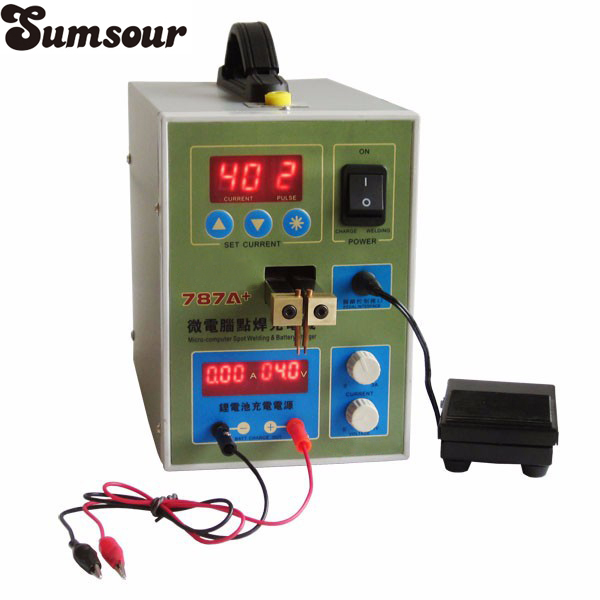 Battery Microcomputer Pulse Spot Welding Machine MCU Pedal Welder Machine 787A+ Battery Capability Charger Foot Pedal C0118-in Spot Welders from Tools    1