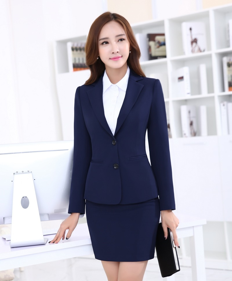 Formal Navy Blue Blazer Women Work Suits with Skirt and Jacket ...