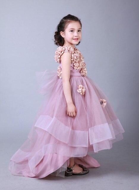 a77654addc7 Одежда высшего качества красивый румянец розовый Пол Длина для маленьких  девочек пышные платья ручной работы платье
