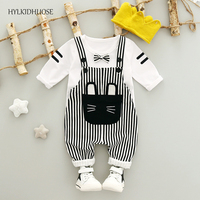 HYLKIDHUOSE 2017 Autumn Baby Girls Boys Clothes Sets Bowknot T Shirt Stripe Straps Pants Infant Suits