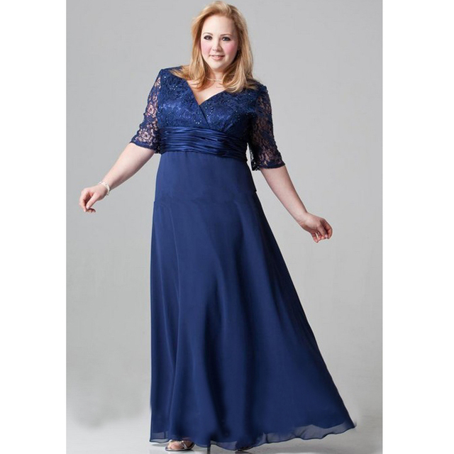 Evening Dress For Plus Size Women 2016 New Half Sleeve V Neck Navy