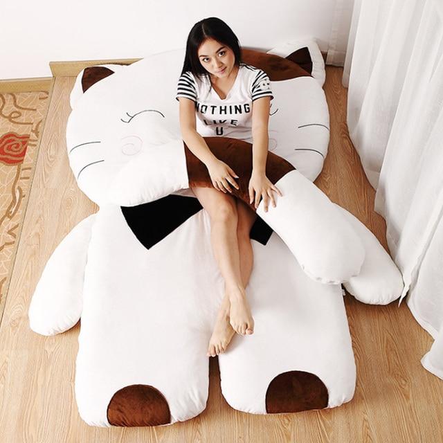 Fancytrader Soft Cartoon Cat Beanbag Giant Stuffed Animals Cats Plush  Tatami Sofa Bed for Children and Adult f213eb3ea5b17