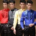 S-2XL 4 colores camisa de 2015men Cequis del brillo de la manera camisas de algodón de manga larga camisa de vestir ropa de baile de la boda del padrino de boda
