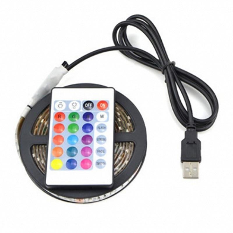 USB RGB Led Strip Light 0.5M 1M 2M 5050SMD RGB Flexibel Ljus TV Bakgrundsbelysning RGB LED Strip Limmetape 5V