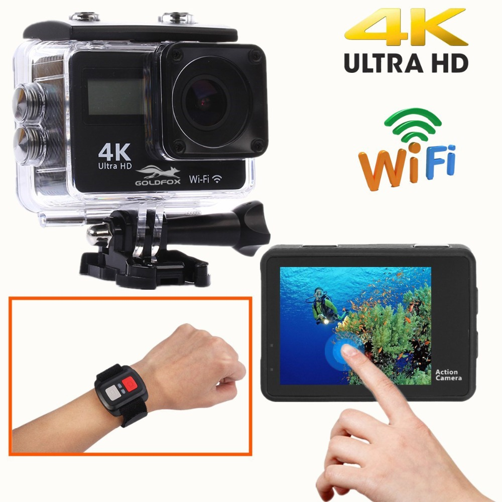 4K Touch Screen WiFi Sports Action Camera LCD Dual Screen 1080P Waterproof Sports DV Bike Helmet Camera Mini DVR Remote Control in Sports Action Video Camera from Consumer Electronics