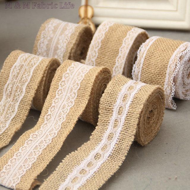 5cm200cmroll 4rollslot lace jute burlap ribbon linen roll diy jute - Christmas Burlap Ribbon