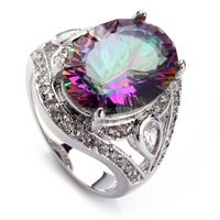 Fashion Rainbow Mystic Topaz Cubic Zirconia Wholesale Jewelry 925 Silver Plated RING R701 Sz 6 7