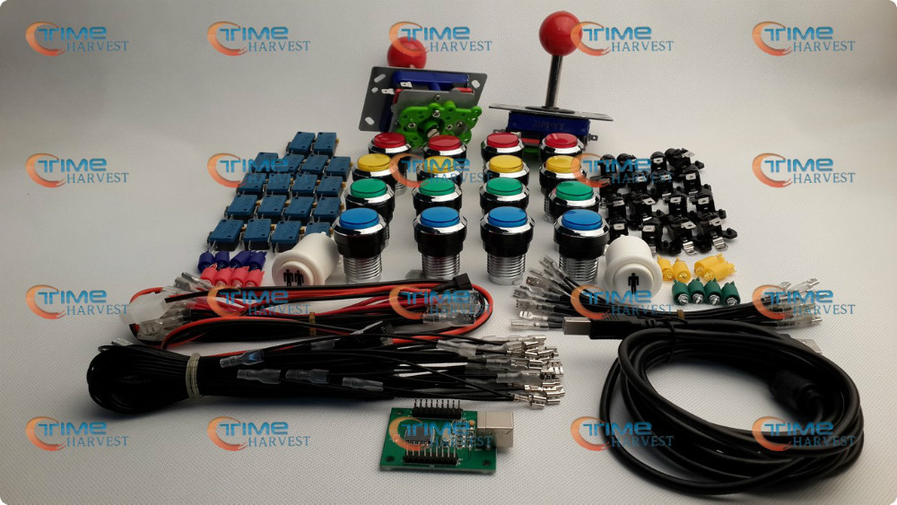 ФОТО Arcade parts Bundles kit With red Joystick mix colors silver buttons Microswitch 2 player USB to Jamma Build Up Arcade cabinet