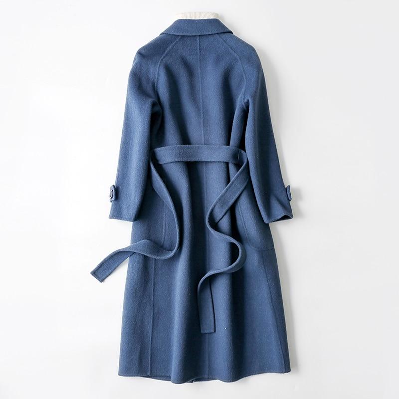 blue Side White Veste Double Mince Élégant caramel Femelle Cachemire Femmes Vestes Automne D'hiver camel Laine Manteau Casaco Long De Mode 2018 Rice nUHqz0xvU