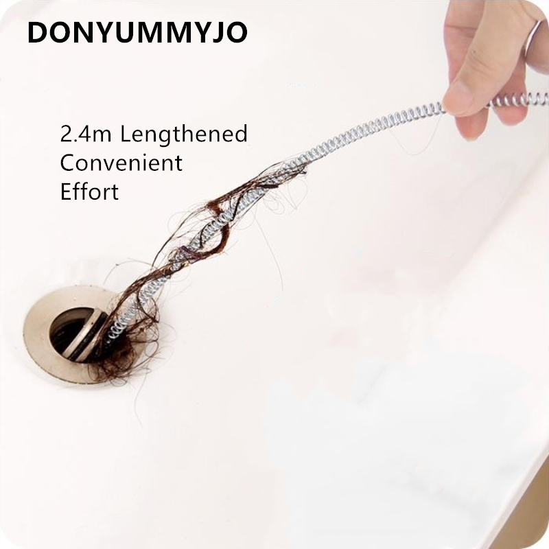 Hair Drain Clog Remover 2.4m Long Unblocker Drain Relief Tool For Drain Cleaning