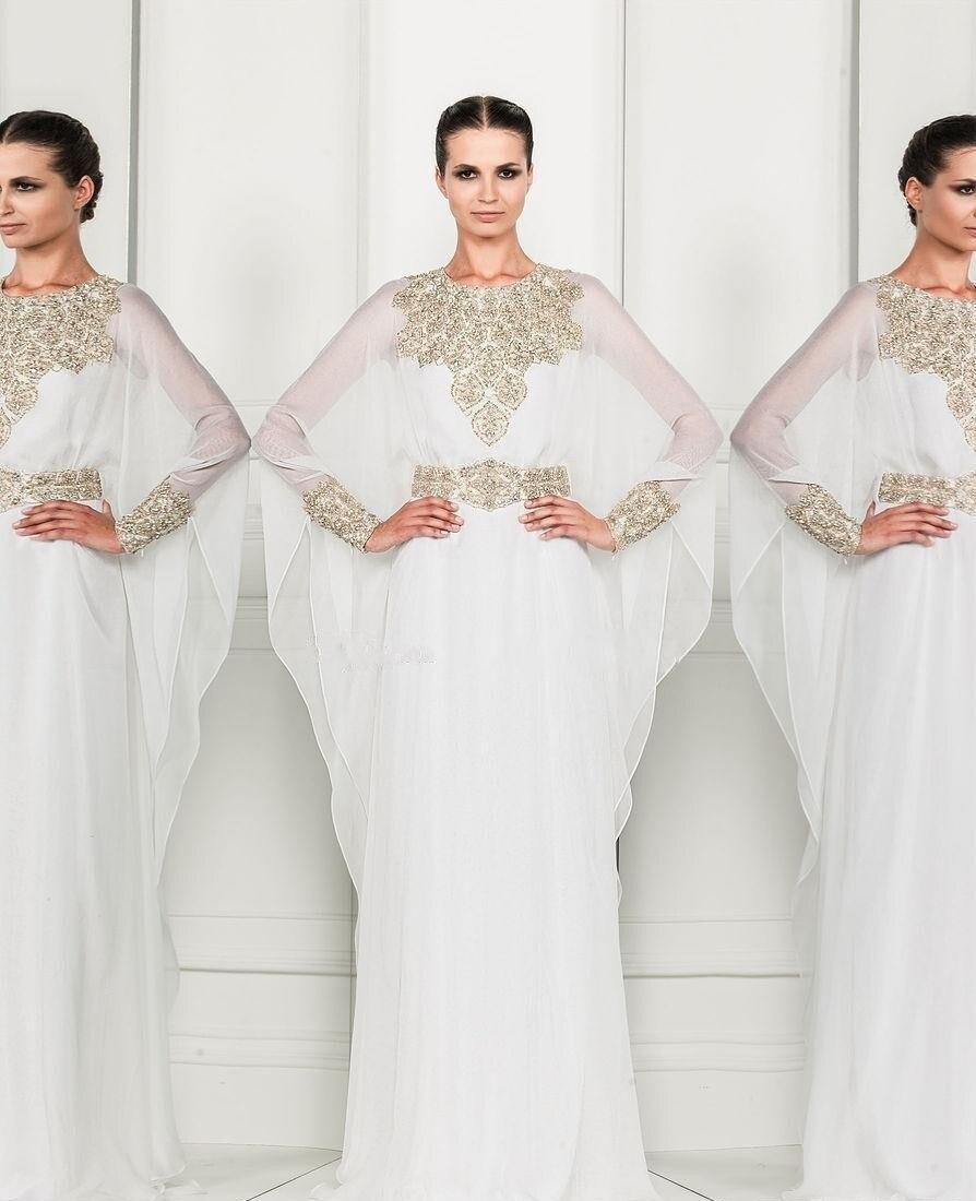 36d9eb29ff Robe Dubai Kaftan Dress White Chiffon and Silver Beading Long Sleeves  Arabic Evening Gowns
