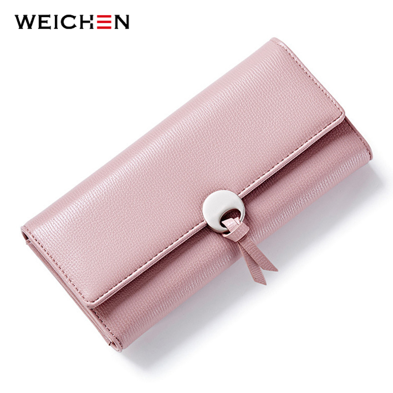 WEICHEN Geometric Wristband Women Clutch Wallets, Long Hasp Large Capacity Coin Card Phone Pocket Bags Wallet Purse Lady Fashion fashion colorful lady lovely coin purse solid golden umbrella clutch wallet large capacity zipper women small bag cute card hold