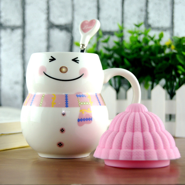 Christmas Gifts Snowman Cups Creative Milk Coffee Cup Ceramic Tea Mug Lovely Children Xmas Gift Cup Spoon Mugs Drop Shipping