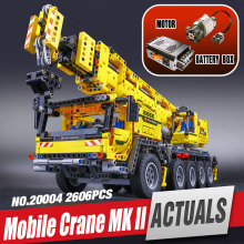 LEPIN 20004 Technic Motor Power Mobile Crane Mk II Model Building Kits Minifigure Blocks Toy Bricks Christmas Gift legoe 42009