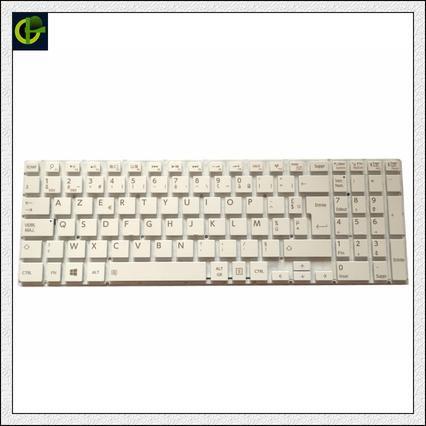 French Azerty Keyboard for <font><b>Toshiba</b></font> <font><b>Satellite</b></font> <font><b>C55</b></font>-C-1LC <font><b>C55</b></font>-C-1LD <font><b>C55</b></font>-C-1LX <font><b>C55</b></font>-C-1HR <font><b>C55</b></font>-C-1HX <font><b>C55</b></font>-C-1L9 FR white image