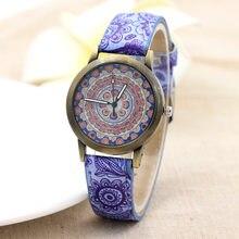 81e4bf25732 Relógio de quartzo 2018 hot azul e branco padrão de porcelana relógio  watchcase Bronze personalidade criativa