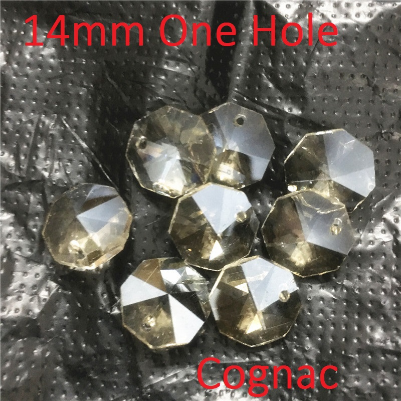 Sale 14mm Cognac 500pc Chandelier Crystals Lamp Prisms Crystal Octagonal Beads Garland Chandelier Hanging Curtain Interior Decor