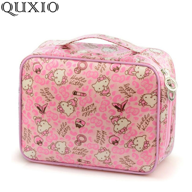 e170b8657b New Hello Kitty Women Cosmetic Bags Cartoon Travel Toiletry Cute Pattern  Necessary Organizer Makeup Bag Storage Beauty Bag LTS01