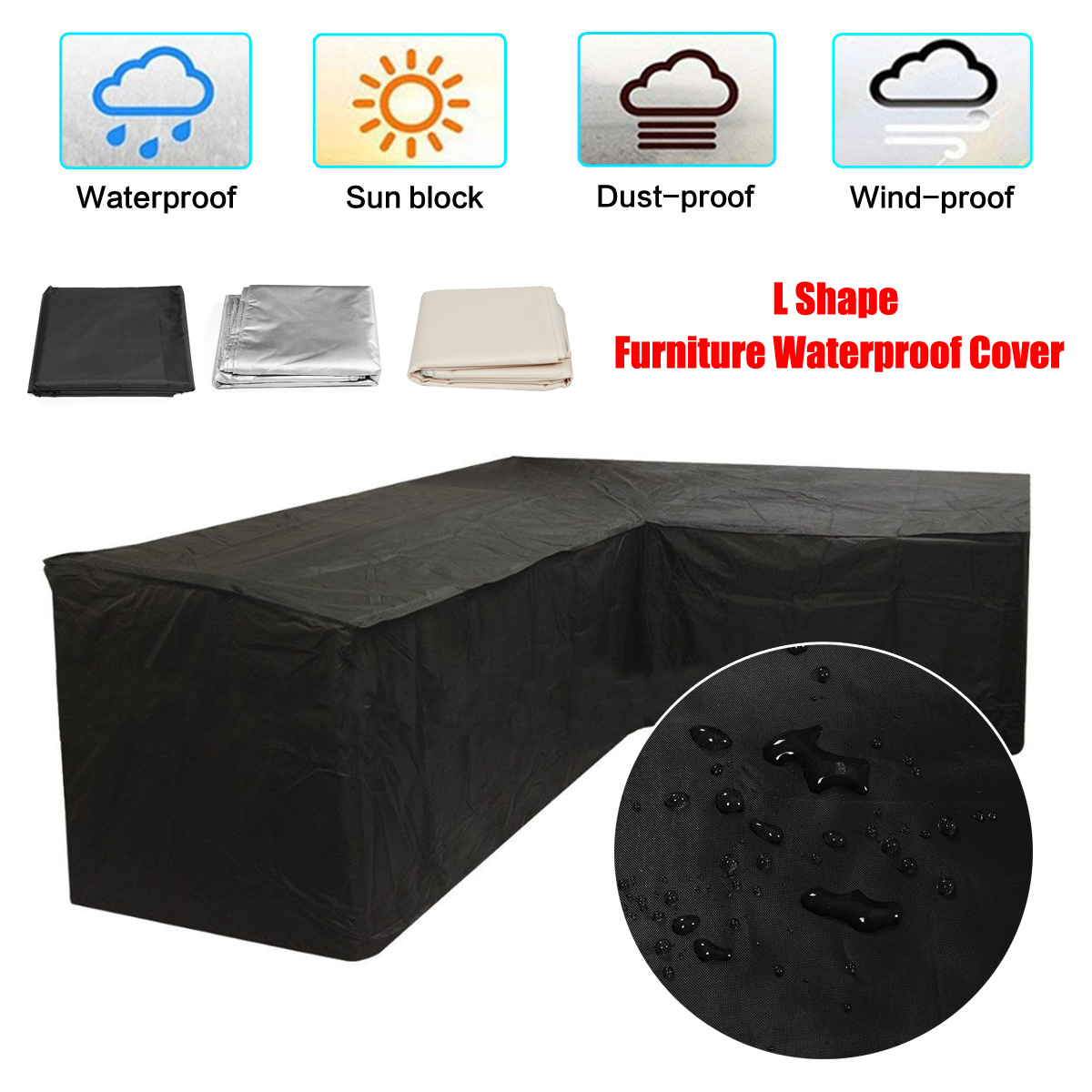Meubles de jardin L forme canapé couverture housse Piano canapé canapé couvertures pour salon extérieur étanche à la poussière