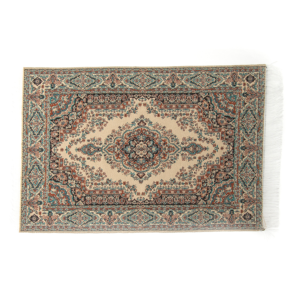 15*24cm 1:12 Doll House Miniature Embroidered Carpet Woven