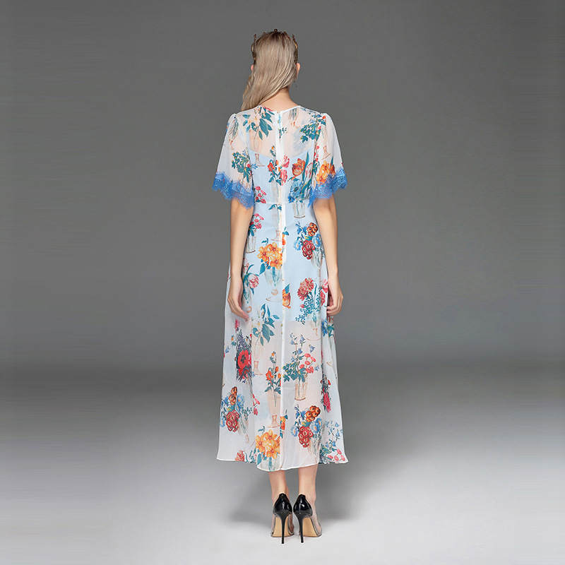2018 Longue Imprimé Manches Floral Femmes De Élégantes Parti Midi Courtes Haute Piste Qualité Casual Designer Bleu Robe À Qyfcioufu Mode dnSqxUFAdw