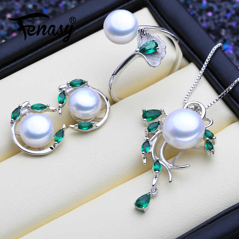 FENASY 925 Sterling Silver Emerald Pearl Jewelry Sets Natural Stud Earrings Bohemian Pendant Necklace Women Green Stones Ring